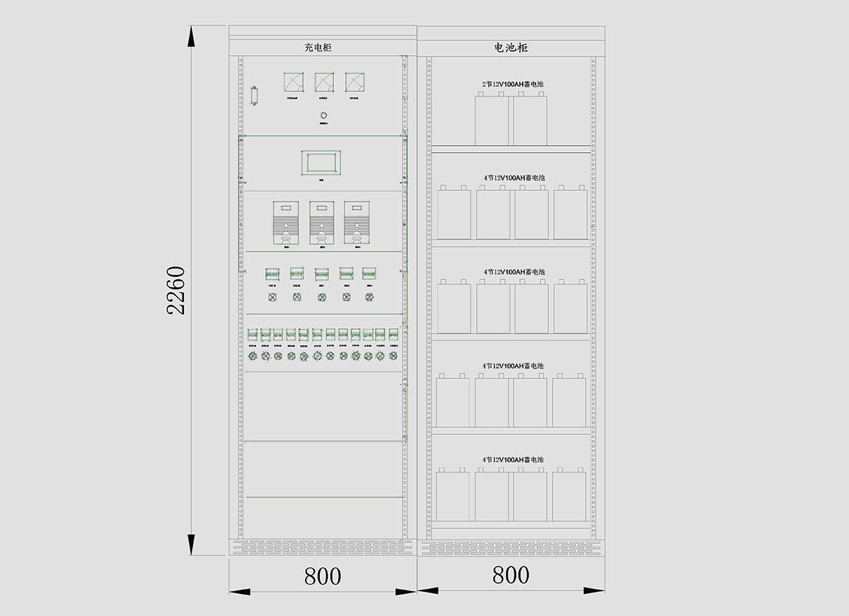 GZDW33-100AH直流屏外形尺寸图
